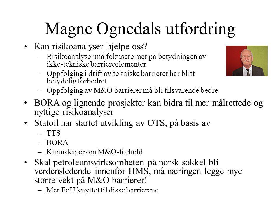 Magne Ognedals utfordring Kan risikoanalyser hjelpe oss.