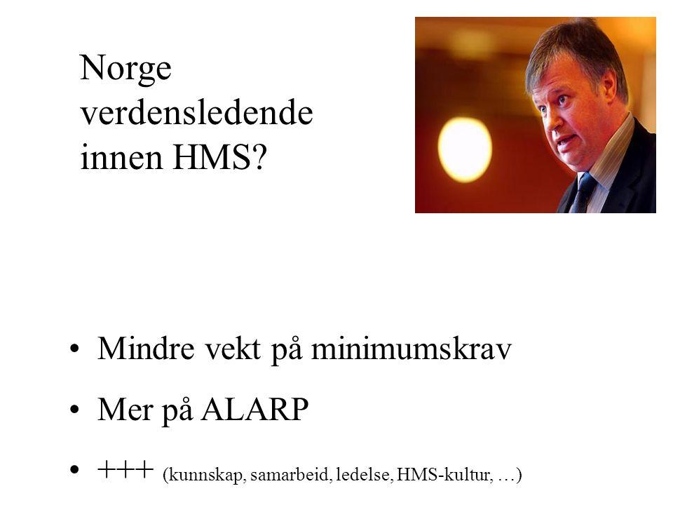 Mindre vekt på minimumskrav Mer på ALARP +++ (kunnskap, samarbeid, ledelse, HMS-kultur, …) Norge verdensledende innen HMS?