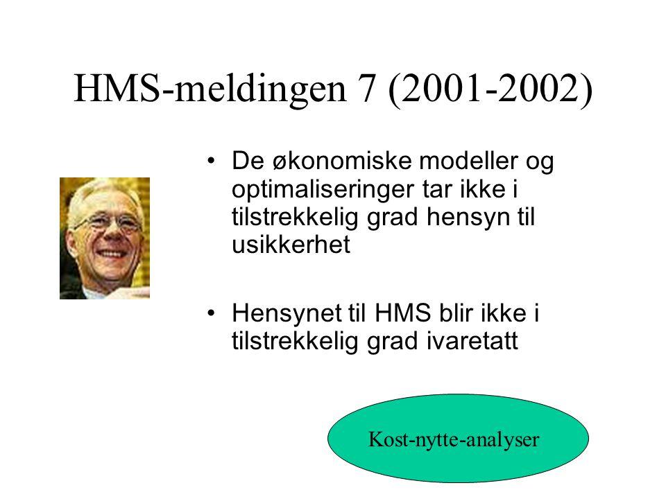 HMS-meldingen 7 (2001-2002) De økonomiske modeller og optimaliseringer tar ikke i tilstrekkelig grad hensyn til usikkerhet Hensynet til HMS blir ikke i tilstrekkelig grad ivaretatt Kost-nytte-analyser