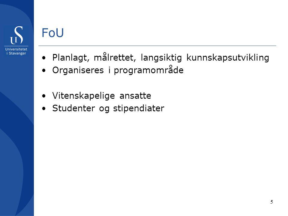 5 FoU Planlagt, målrettet, langsiktig kunnskapsutvikling Organiseres i programområde Vitenskapelige ansatte Studenter og stipendiater
