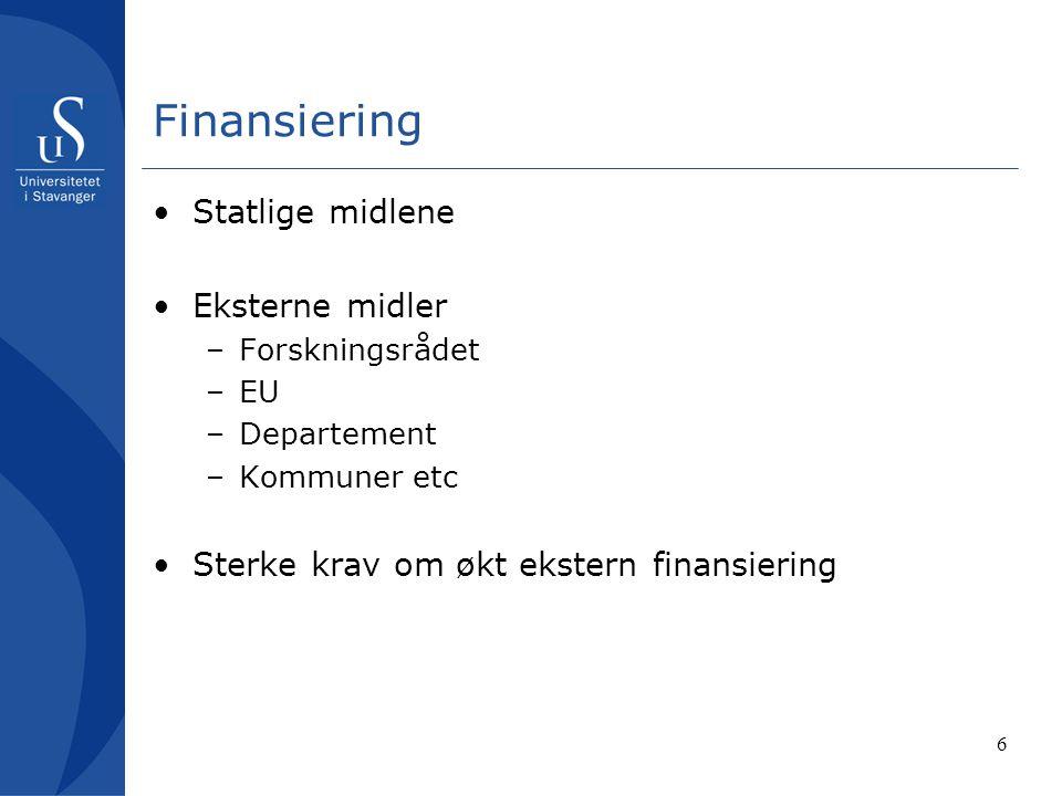 6 Finansiering Statlige midlene Eksterne midler –Forskningsrådet –EU –Departement –Kommuner etc Sterke krav om økt ekstern finansiering