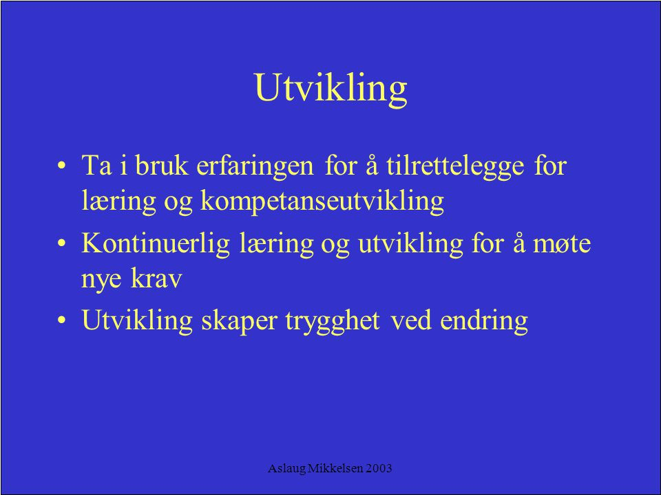 Aslaug Mikkelsen 2003 Utvikling Ta i bruk erfaringen for å tilrettelegge for læring og kompetanseutvikling Kontinuerlig læring og utvikling for å møte