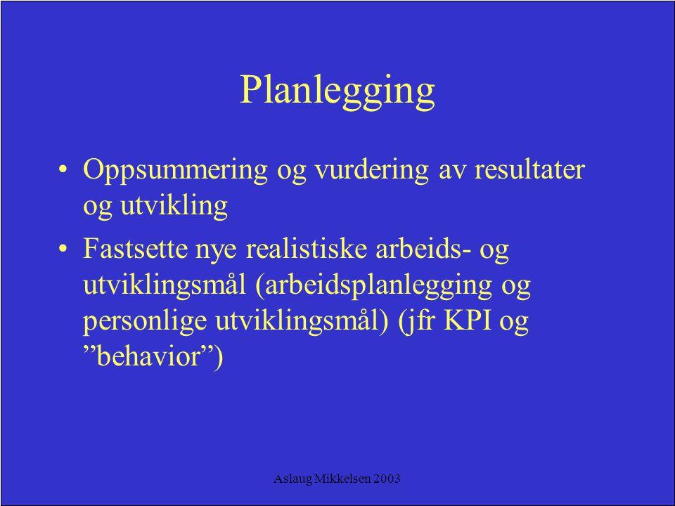 Aslaug Mikkelsen 2003 Planlegging Oppsummering og vurdering av resultater og utvikling Fastsette nye realistiske arbeids- og utviklingsmål (arbeidspla
