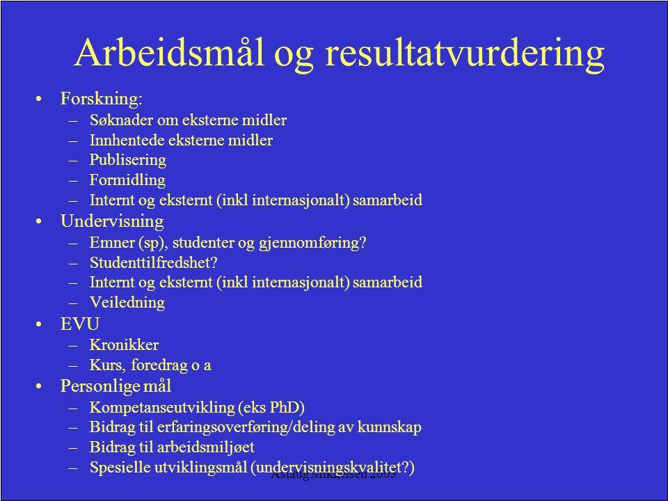 Aslaug Mikkelsen 2003 Arbeidsmål og resultatvurdering Forskning: –Søknader om eksterne midler –Innhentede eksterne midler –Publisering –Formidling –In