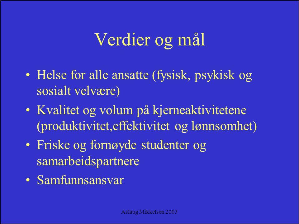 Aslaug Mikkelsen 2003 Verdier og mål Helse for alle ansatte (fysisk, psykisk og sosialt velvære) Kvalitet og volum på kjerneaktivitetene (produktivite