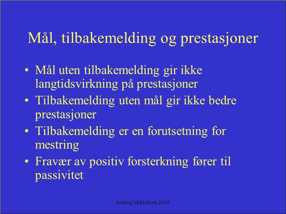 Aslaug Mikkelsen 2003 Mål, tilbakemelding og prestasjoner Mål uten tilbakemelding gir ikke langtidsvirkning på prestasjoner Tilbakemelding uten mål gi