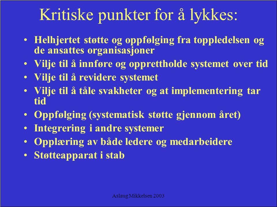 Aslaug Mikkelsen 2003 Kritiske punkter for å lykkes: Helhjertet støtte og oppfølging fra toppledelsen og de ansattes organisasjoner Vilje til å innfør