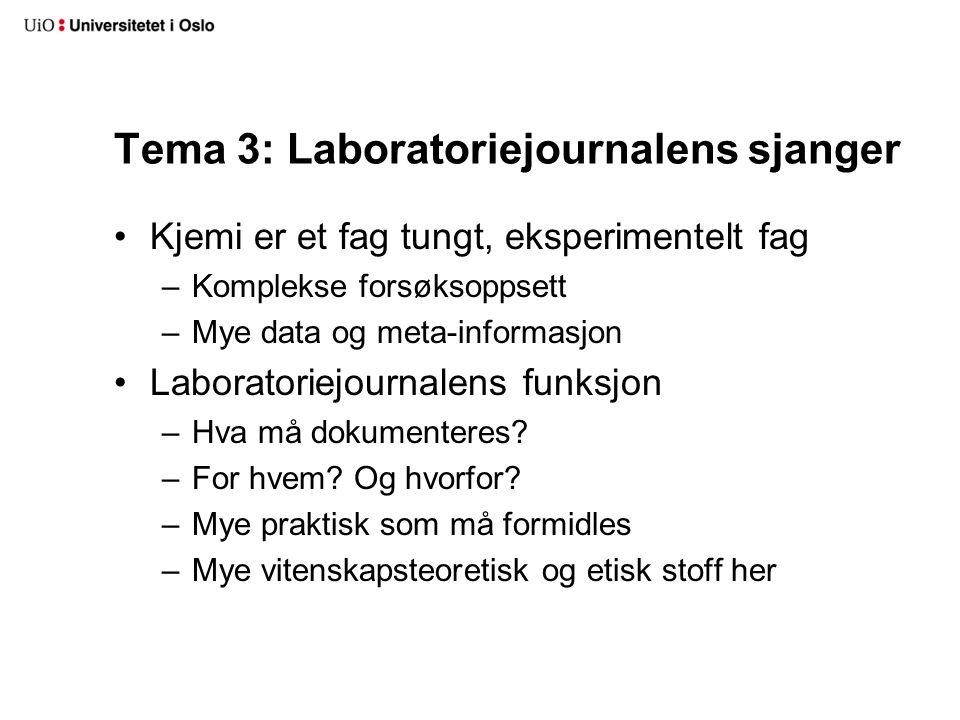 Tema 3: Laboratoriejournalens sjanger Kjemi er et fag tungt, eksperimentelt fag –Komplekse forsøksoppsett –Mye data og meta-informasjon Laboratoriejou