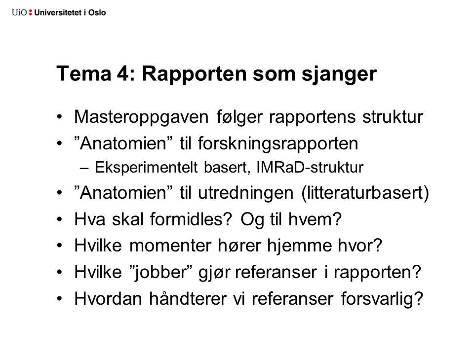 """Tema 4: Rapporten som sjanger Masteroppgaven følger rapportens struktur """"Anatomien"""" til forskningsrapporten –Eksperimentelt basert, IMRaD-struktur """"An"""