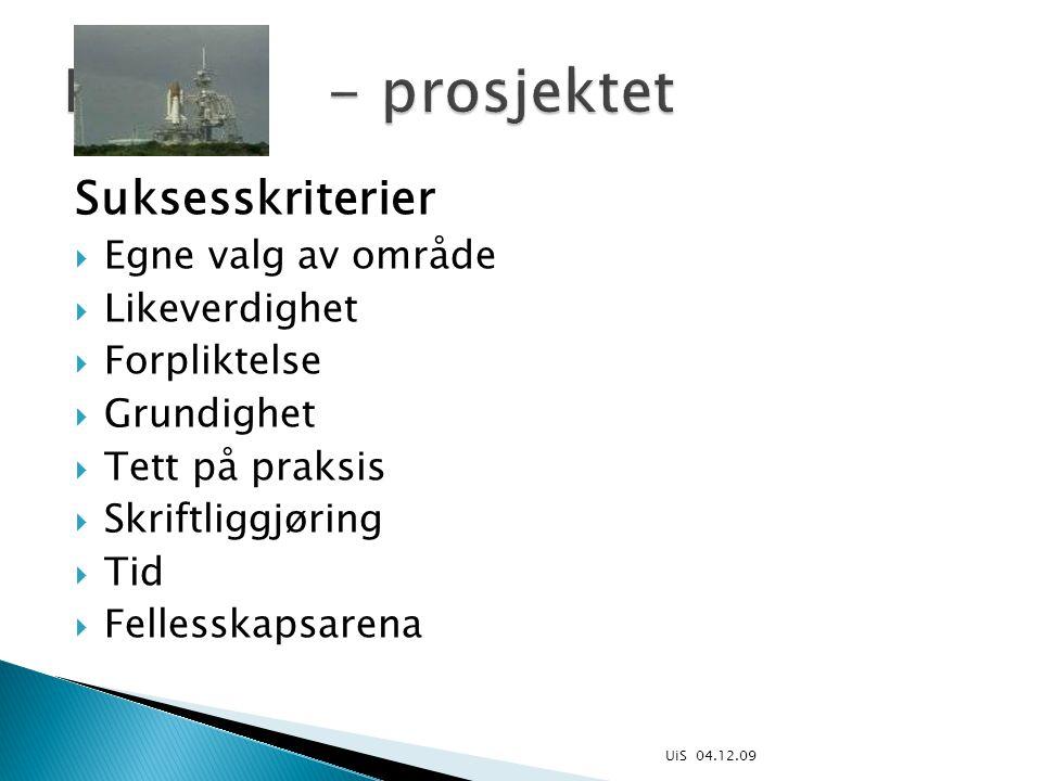 Suksesskriterier  Egne valg av område  Likeverdighet  Forpliktelse  Grundighet  Tett på praksis  Skriftliggjøring  Tid  Fellesskapsarena UiS 04.12.09