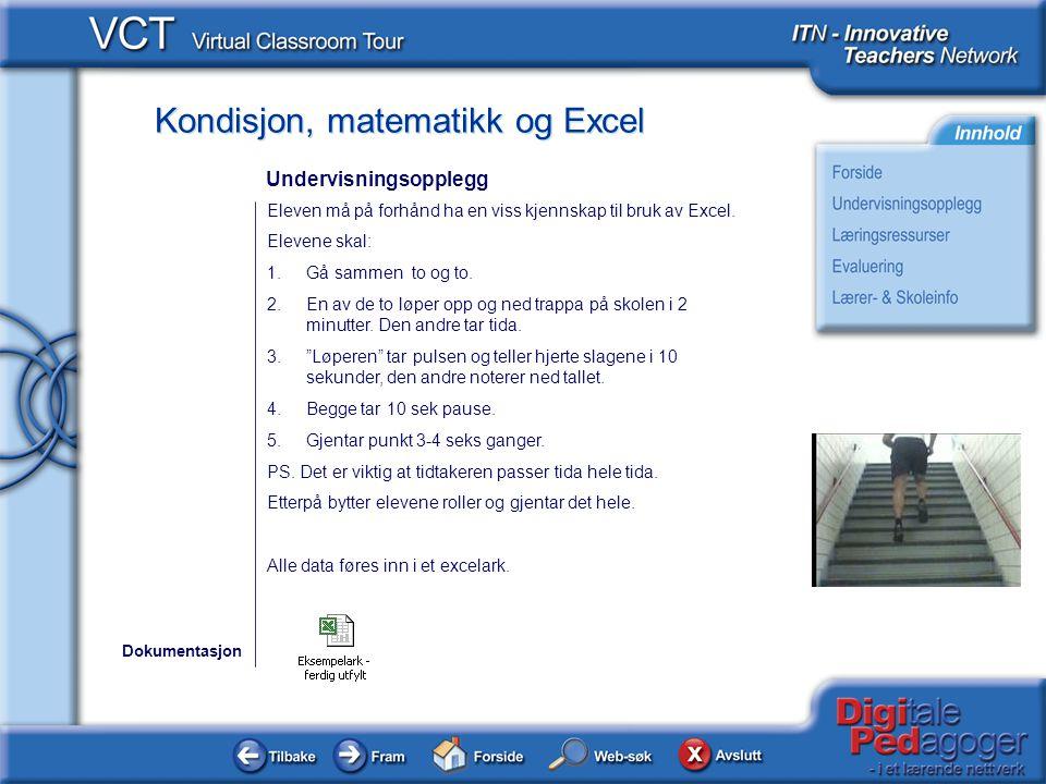 Kondisjon, matematikk og Excel Eleven må på forhånd ha en viss kjennskap til bruk av Excel.
