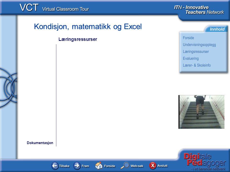 Kondisjon, matematikk og Excel Dokumentasjon Læringsressurser