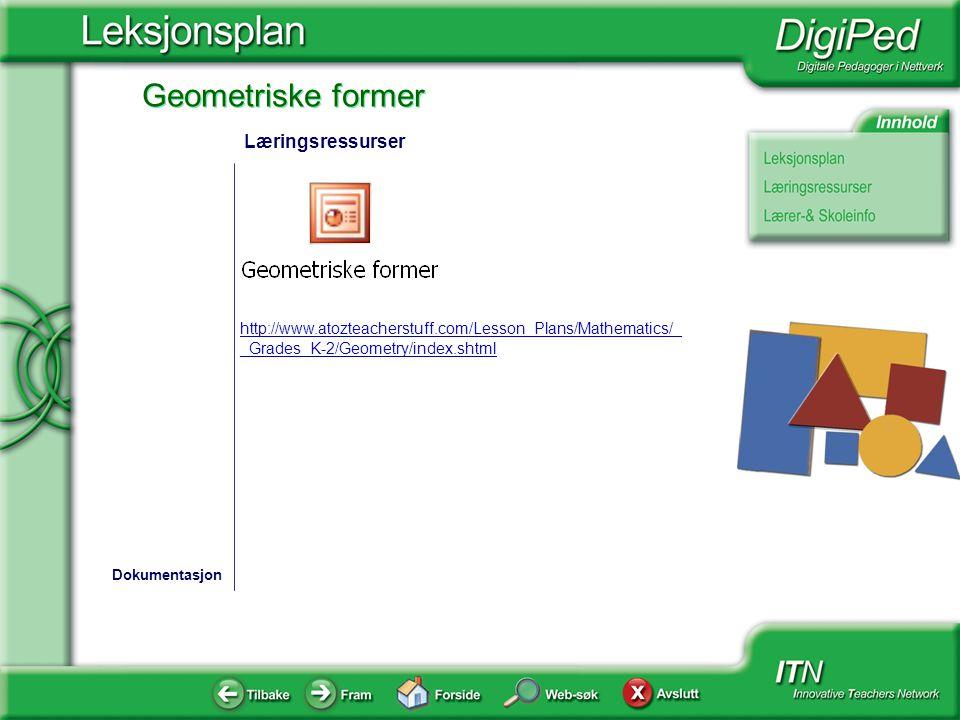 Geometriske former http://www.atozteacherstuff.com/Lesson_Plans/Mathematics/_ _Grades_K-2/Geometry/index.shtml Dokumentasjon Læringsressurser