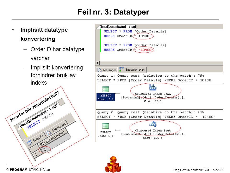 © PROGRAM UTVIKLING as Dag Hoftun Knutsen: SQL - side 12 Implisitt datatype konvertering –OrderID har datatype varchar –Implisitt konvertering forhind
