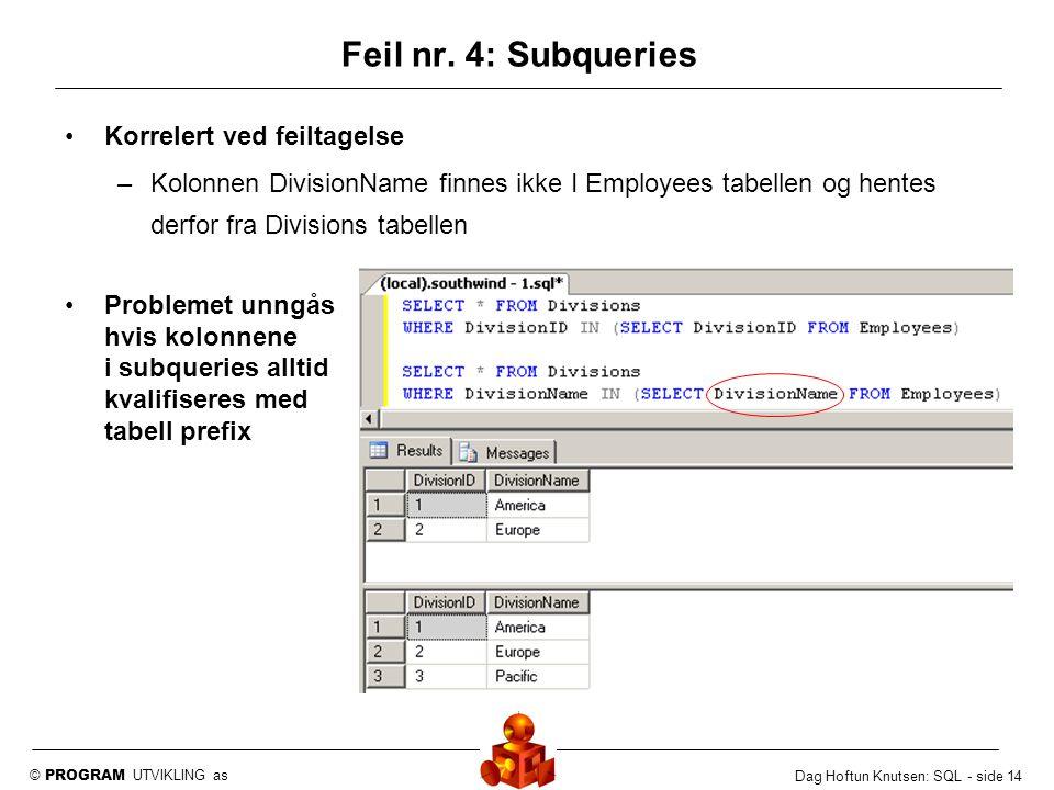 © PROGRAM UTVIKLING as Dag Hoftun Knutsen: SQL - side 14 Korrelert ved feiltagelse –Kolonnen DivisionName finnes ikke I Employees tabellen og hentes d