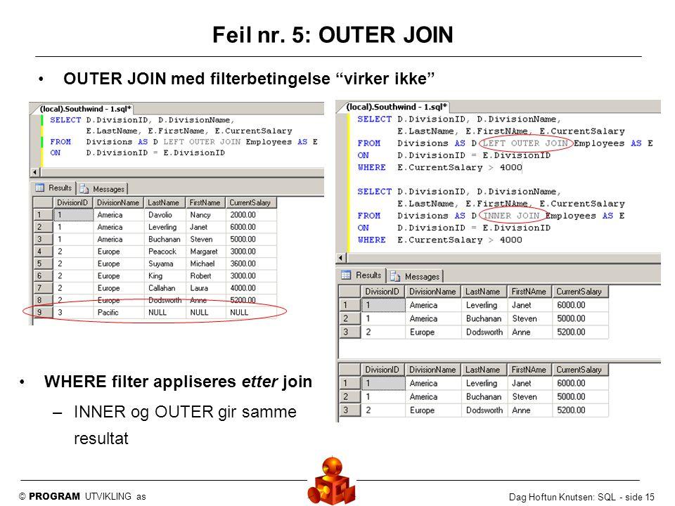 """© PROGRAM UTVIKLING as Dag Hoftun Knutsen: SQL - side 15 Feil nr. 5: OUTER JOIN OUTER JOIN med filterbetingelse """"virker ikke"""" WHERE filter appliseres"""