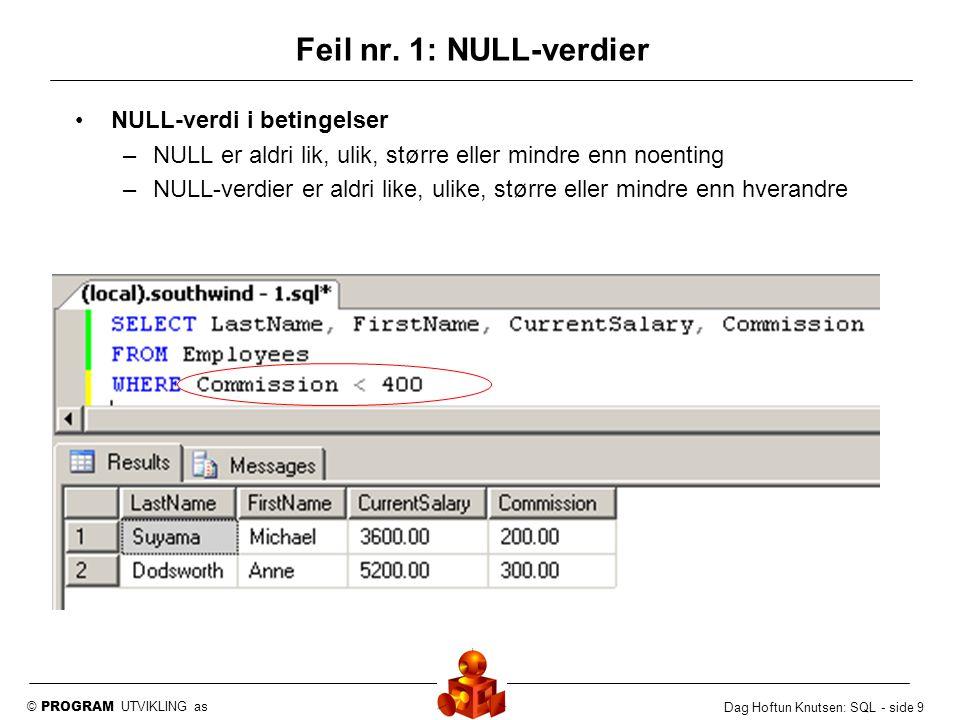 © PROGRAM UTVIKLING as Dag Hoftun Knutsen: SQL - side 10 NULL-verdi ved IN og NOT IN –IN overser NULL-verdier –En eneste NULL-verdi gjør at NOT IN ikke er oppfylt Feil nr.