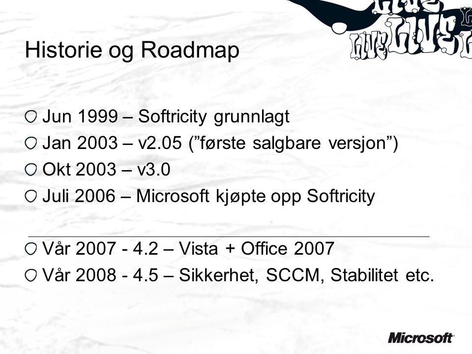 Historie og Roadmap Jun 1999 – Softricity grunnlagt Jan 2003 – v2.05 ( første salgbare versjon ) Okt 2003 – v3.0 Juli 2006 – Microsoft kjøpte opp Softricity Vår 2007 - 4.2 – Vista + Office 2007 Vår 2008 - 4.5 – Sikkerhet, SCCM, Stabilitet etc.