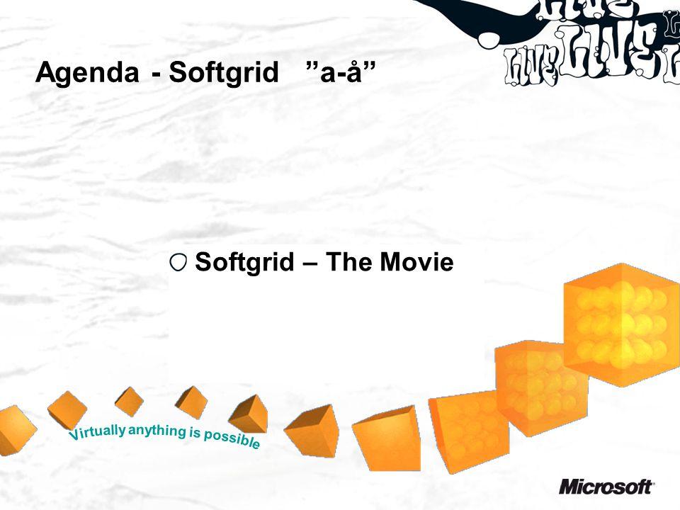 Agenda - Softgrid a-å Solgte lisenser i FY07 –1 mill i EMEA –1 mill i resten av verden –Mange referanser i Norge