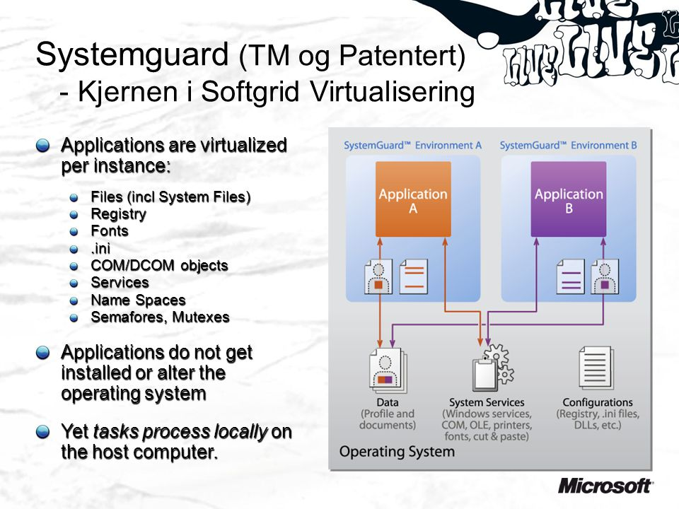 Systemguard (TM og Patentert) - Kjernen i Softgrid Virtualisering Applications are virtualized per instance: Files (incl System Files) RegistryFonts.ini COM/DCOM objects Services Name Spaces Semafores, Mutexes Applications do not get installed or alter the operating system Yet tasks process locally on the host computer.