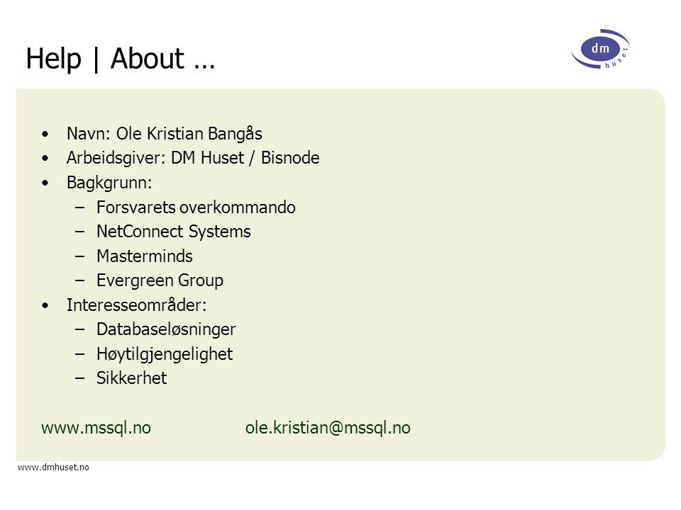 www.dmhuset.no Kort introduksjon til SSIS SQL Server Integration Services er arvtageren til DTS SSIS er følgelig en ETL applikasjon –Extract –Transform –Load DTS har blitt splittet i –Control Flow –Data Flow Dataflyt er essensielt En rekke komponenter som kan hjelpe oss –Derived Column –Multicast –(Fuzzy) Lookup Men vi trenger tidvis noe mer!