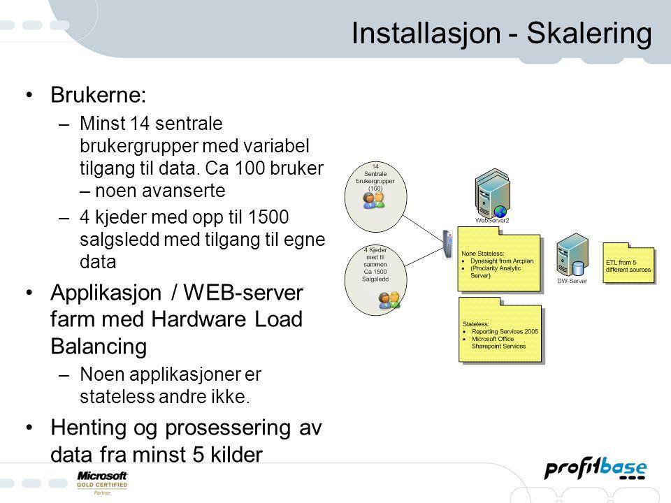 Installasjon - Skalering Brukerne: –Minst 14 sentrale brukergrupper med variabel tilgang til data.