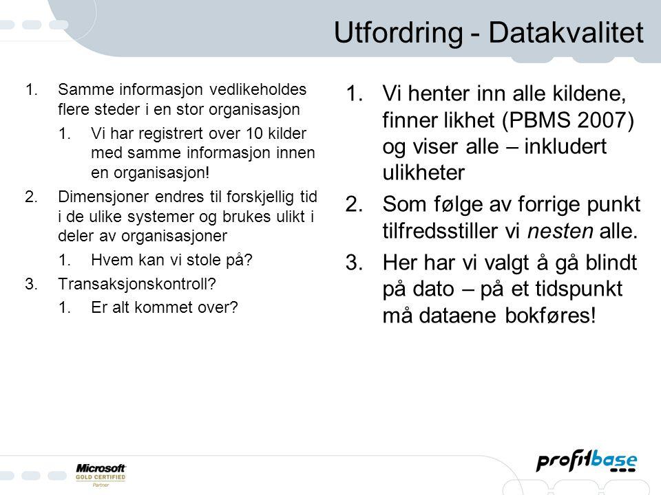 Utfordring - Datakvalitet 1.Samme informasjon vedlikeholdes flere steder i en stor organisasjon 1.Vi har registrert over 10 kilder med samme informasjon innen en organisasjon.