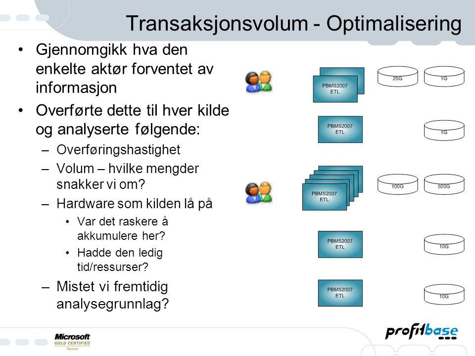 Transaksjonsvolum – Optimalisering forts Overføringsteknikker 1.PBMS 2007 – SQL Ekstrakt 2.PBMS 2007 – SQL Server Integration Services packages 3.Dato / Transaksjon 1.Fordel med transaksjon 1.Her benyttes SQL for å hente ønsket data.