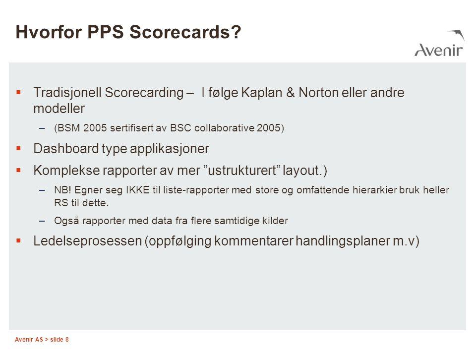 Avenir AS > slide 8 Hvorfor PPS Scorecards.