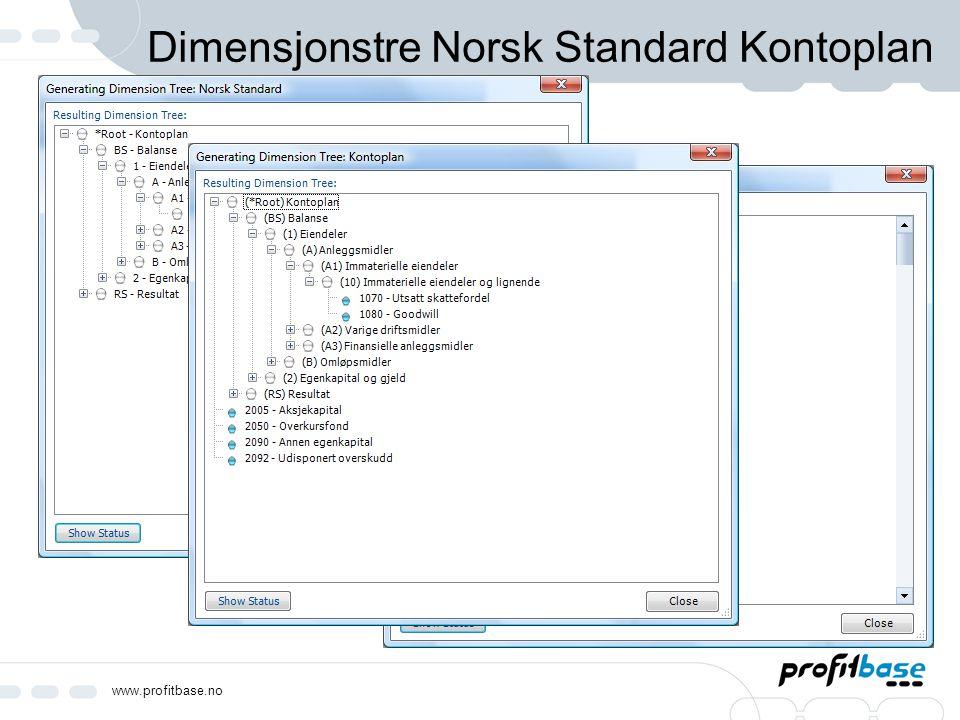www.profitbase.no Dimensjonstre Norsk Standard Kontoplan