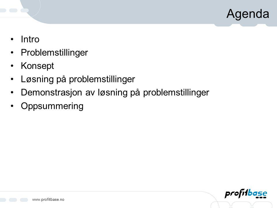 www.profitbase.no Agenda Intro Problemstillinger Konsept Løsning på problemstillinger Demonstrasjon av løsning på problemstillinger Oppsummering