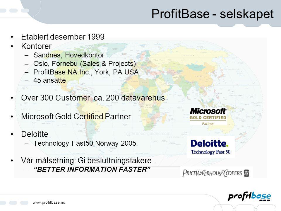 www.profitbase.no ProfitBase - selskapet Etablert desember 1999 Kontorer –Sandnes, Hovedkontor –Oslo, Fornebu (Sales & Projects) –ProfitBase NA Inc.,