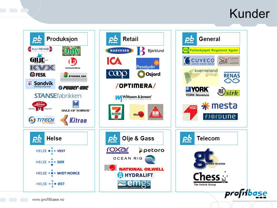 www.profitbase.no Kunder RetailGeneralHelseOlje & GassTelecomProduksjon