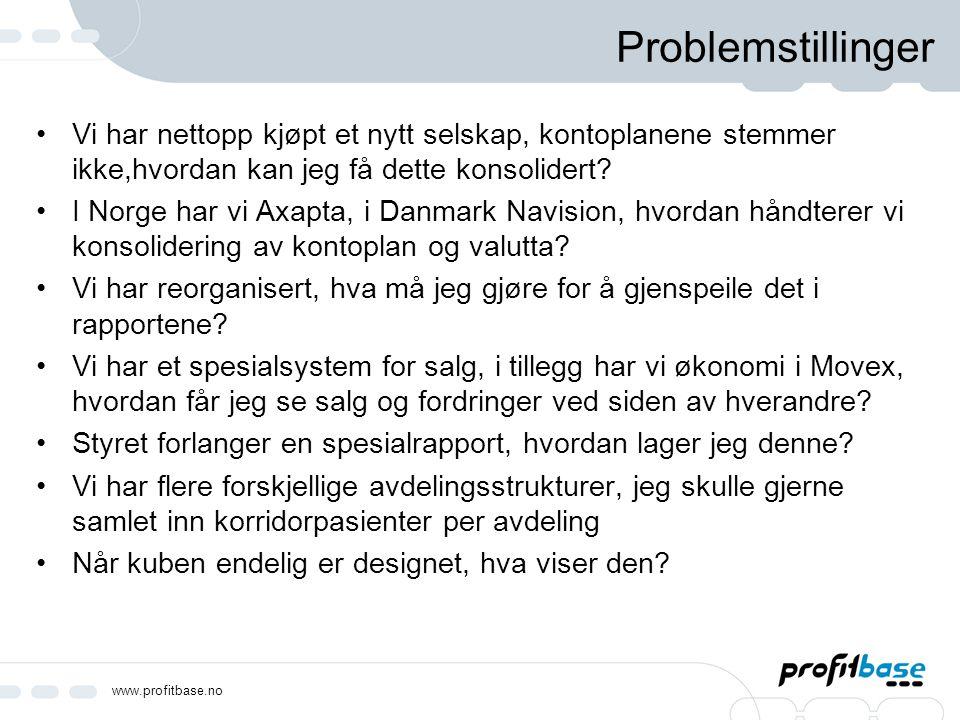 www.profitbase.no Problemstillinger Vi har nettopp kjøpt et nytt selskap, kontoplanene stemmer ikke,hvordan kan jeg få dette konsolidert? I Norge har