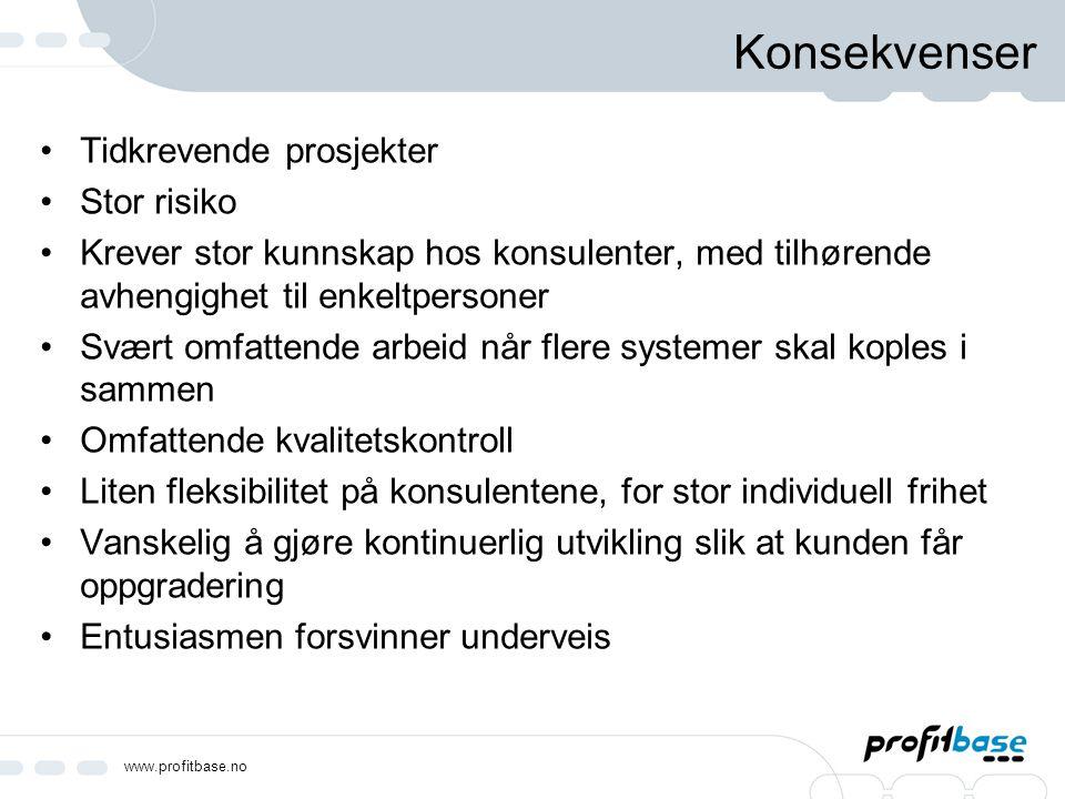www.profitbase.no Konsekvenser Tidkrevende prosjekter Stor risiko Krever stor kunnskap hos konsulenter, med tilhørende avhengighet til enkeltpersoner