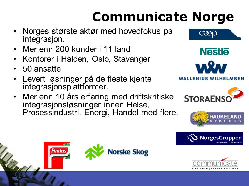 Sette opp meldingstype Communicate Holmen Test 146 Trelleborg 10 55201202
