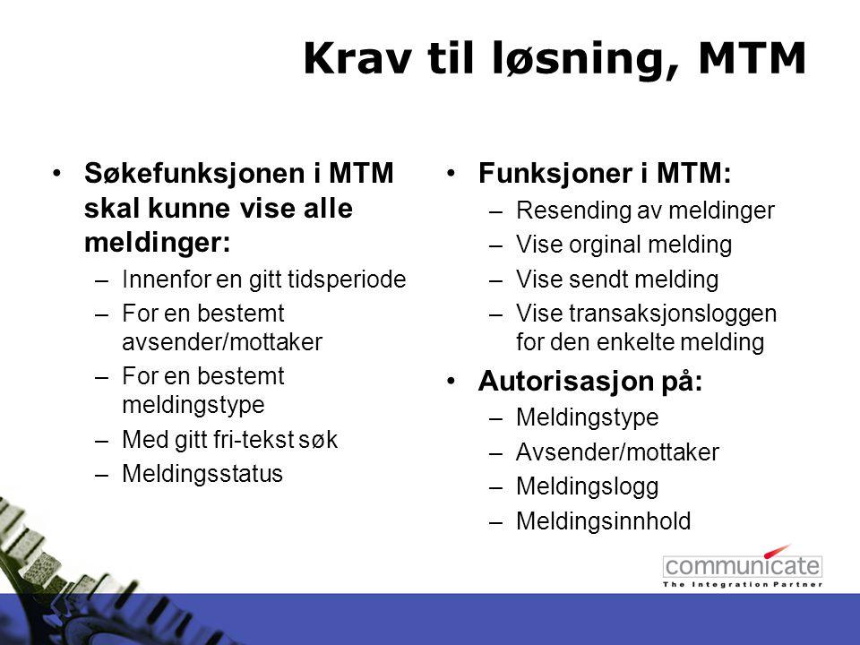 MTM Gir bare et bilde av BizTalk –Kun logging, ingen funksjonalitet som hjelper eller endrer noe –Viser alle meldinger som har gått gjennom BizTalk Så distribuert som du vil at den skal være