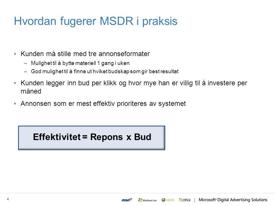Når anbefaler vi MSDR.