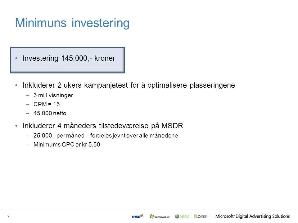 Minimuns investering Investering 145.000,- kroner Inkluderer 2 ukers kampanjetest for å optimalisere plasseringene –3 mill visninger –CPM = 15 –45.000