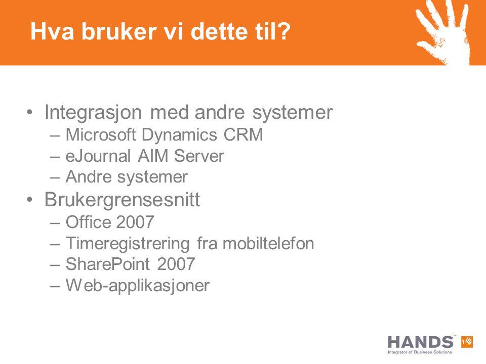 Hva bruker vi dette til? Integrasjon med andre systemer –Microsoft Dynamics CRM –eJournal AIM Server –Andre systemer Brukergrensesnitt –Office 2007 –T