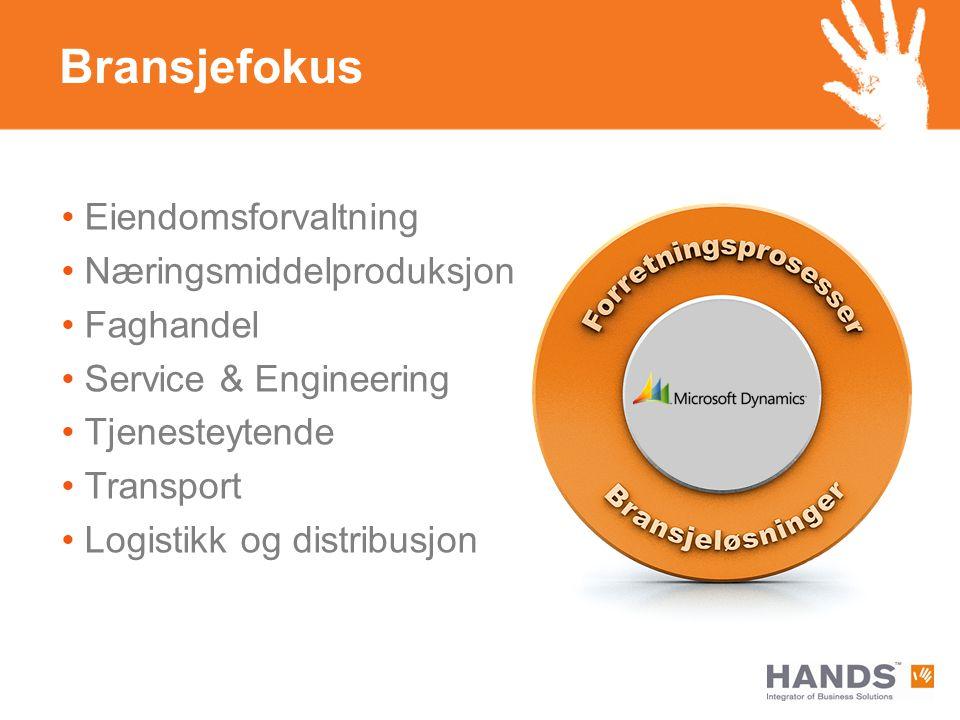 Eiendomsforvaltning Næringsmiddelproduksjon Faghandel Service & Engineering Tjenesteytende Transport Logistikk og distribusjon Bransjefokus