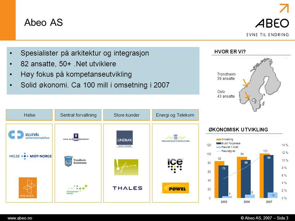 © Abeo AS, 2007 – Side 3www.abeo.no Abeo AS Spesialister på arkitektur og integrasjon 82 ansatte, 50+.Net utviklere Høy fokus på kompetanseutvikling S