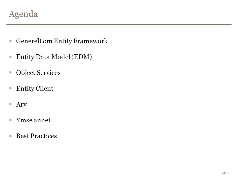 Arv i Entity Framework Side 13  En tabell per konkrete type –Hver tabell inneholder alle dataene for en entitet type