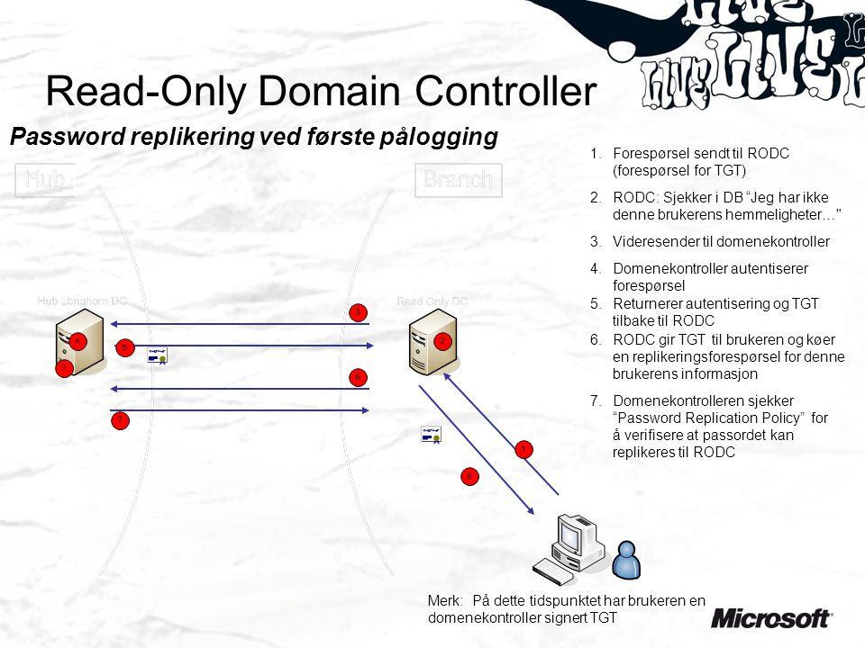 Read-Only Domain Controller Password replikering ved første pålogging 2.RODC: Sjekker i DB Jeg har ikke denne brukerens hemmeligheter… 3.Videresender til domenekontroller 4.Domenekontroller autentiserer forespørsel 5.Returnerer autentisering og TGT tilbake til RODC 6.RODC gir TGT til brukeren og køer en replikeringsforespørsel for denne brukerens informasjon 7.Domenekontrolleren sjekker Password Replication Policy for å verifisere at passordet kan replikeres til RODC 1.Forespørsel sendt til RODC (forespørsel for TGT) Merk: På dette tidspunktet har brukeren en domenekontroller signert TGT