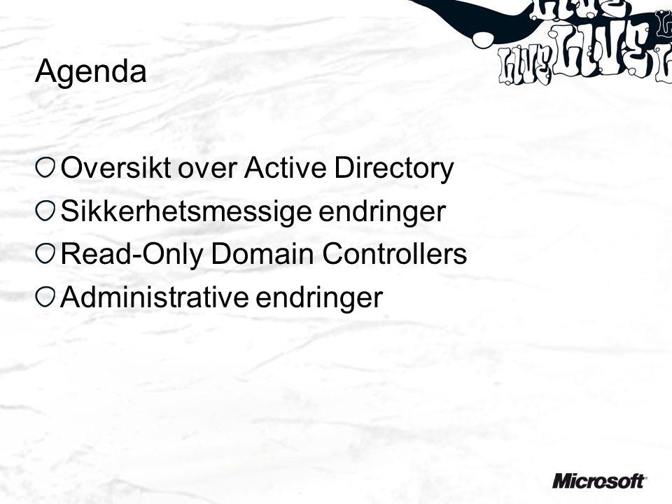 Agenda Oversikt over Active Directory Sikkerhetsmessige endringer Read-Only Domain Controllers Administrative endringer