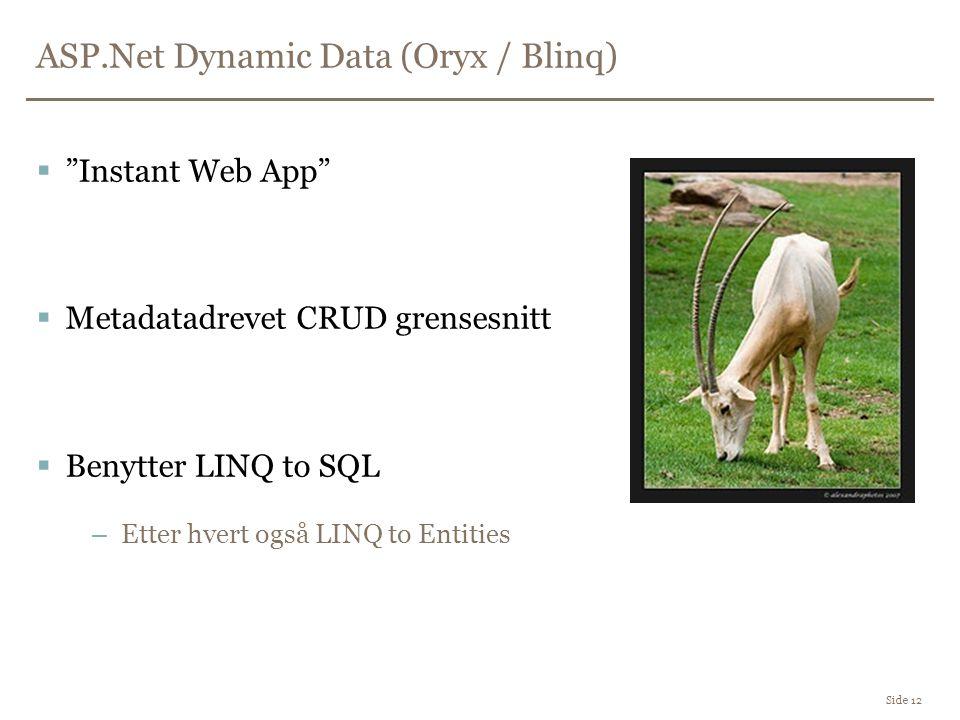 ASP.Net Dynamic Data (Oryx / Blinq) Side 12  Instant Web App  Metadatadrevet CRUD grensesnitt  Benytter LINQ to SQL –Etter hvert også LINQ to Entities