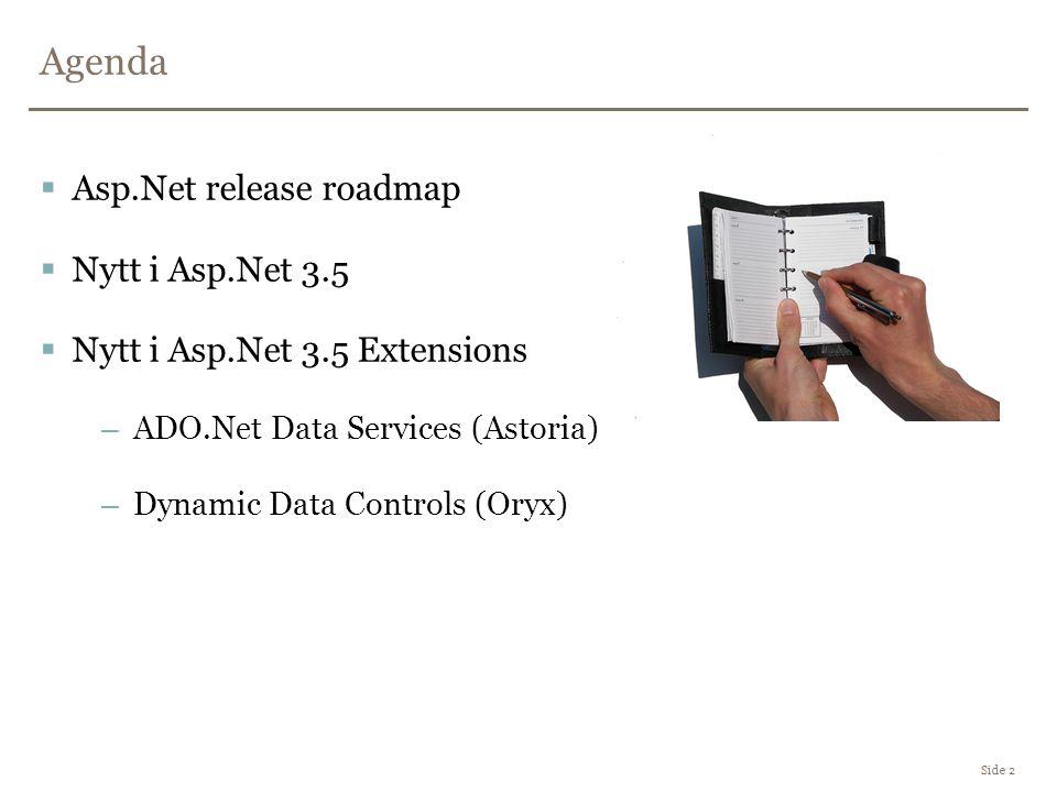 Agenda Side 2  Asp.Net release roadmap  Nytt i Asp.Net 3.5  Nytt i Asp.Net 3.5 Extensions –ADO.Net Data Services (Astoria) –Dynamic Data Controls (Oryx)