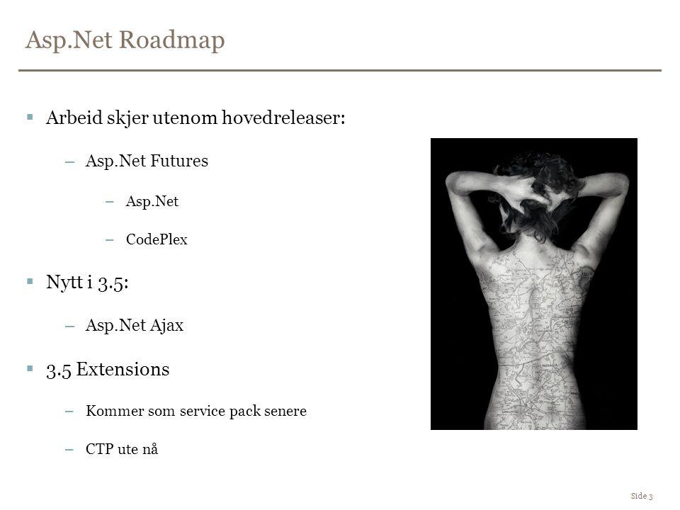 Asp.Net Roadmap Side 3  Arbeid skjer utenom hovedreleaser: –Asp.Net Futures –Asp.Net –CodePlex  Nytt i 3.5: –Asp.Net Ajax  3.5 Extensions –Kommer som service pack senere –CTP ute nå