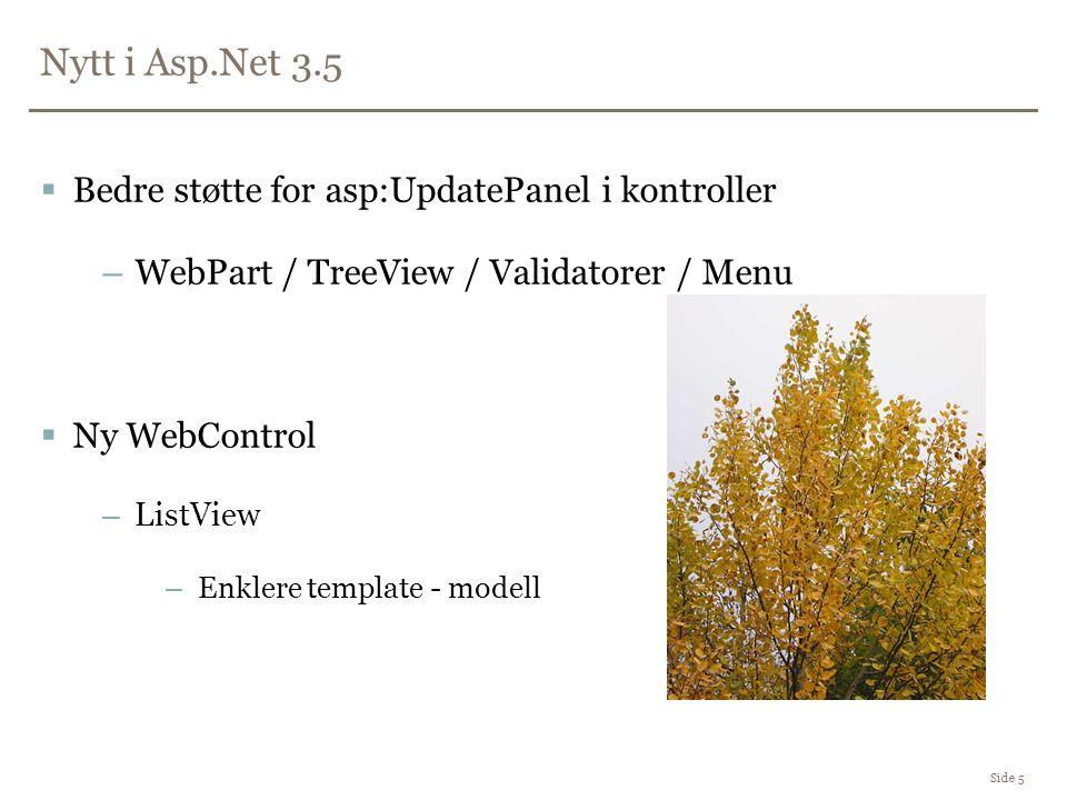 Nytt i Asp.Net 3.5 Side 5  Bedre støtte for asp:UpdatePanel i kontroller –WebPart / TreeView / Validatorer / Menu  Ny WebControl –ListView –Enklere template - modell