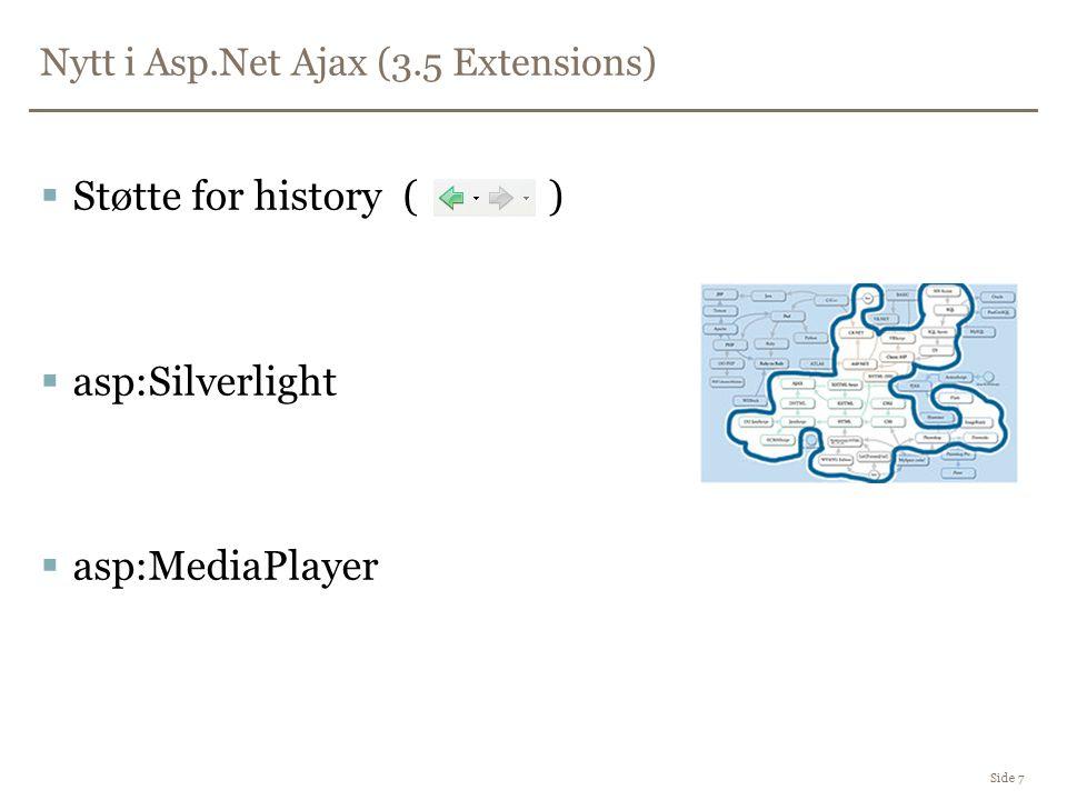 Nytt i Asp.Net Ajax (3.5 Extensions) Side 7  Støtte for history ( )  asp:Silverlight  asp:MediaPlayer